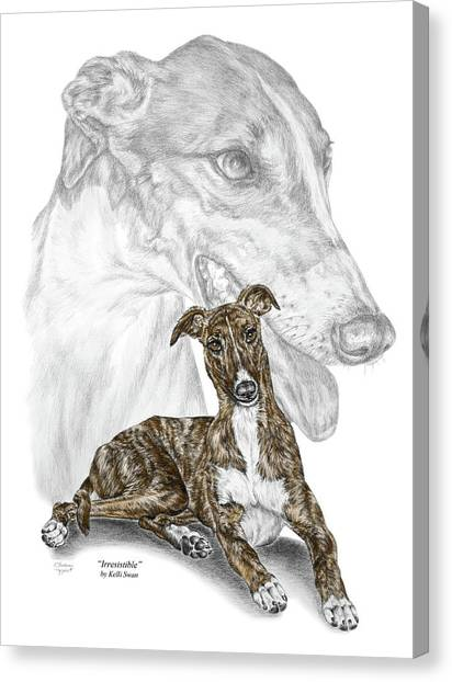 Irresistible - Greyhound Dog Print Color Tinted Canvas Print