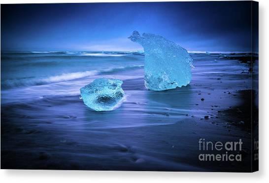 Vatnajokull Glacier Canvas Print - Irridescent Jokulsarlon Blue Ice by Mike Reid