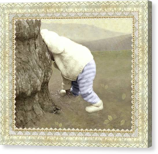 Is Bunny Behind Tree? Canvas Print