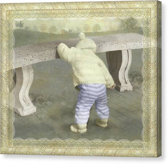 Is Bunny Under The Bench? Canvas Print