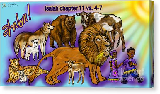 Isaiah 11 Vs 4-7 Canvas Print