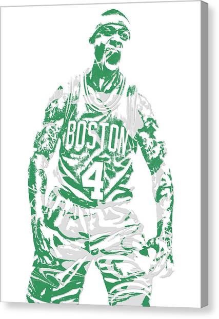 Boston Celtics Canvas Print - Isaiah Thomas Boston Celtics Pixel Art 16 by Joe Hamilton