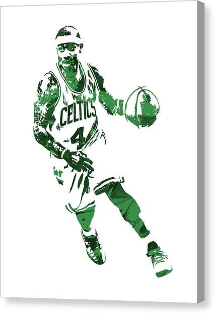 Boston Celtics Canvas Print - Isaiah Thomas Boston Celtics Pixel Art 6 by Joe Hamilton