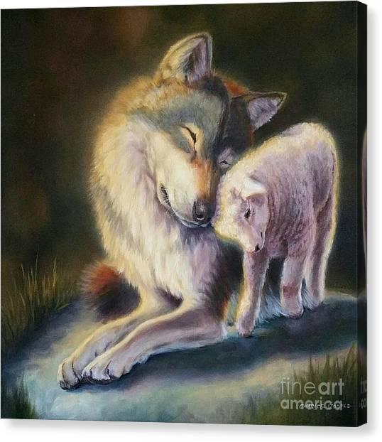Isaiah Wolf And Lamb Canvas Print