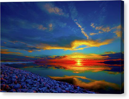 Canvas Print featuring the photograph Isand Sunset by Norman Hall