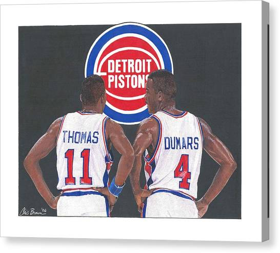 Detroit Pistons Canvas Print - Isiah Thomas And Joe Dumars by Chris Brown