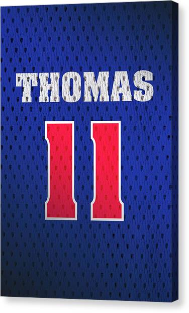 Detroit Pistons Canvas Print - Isiah Thomas Detroit Pistons Number 11 Retro Vintage Jersey Closeup Graphic Design by Design Turnpike
