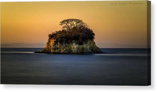 Island At Sunset Canvas Print