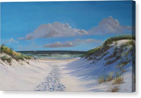 Island Beach Dune Walk Canvas Print