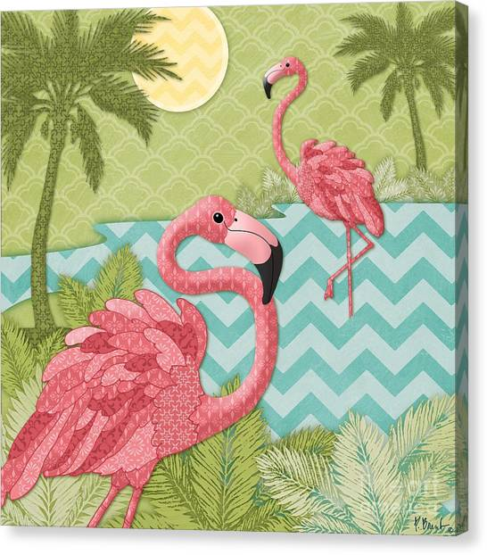 Flamingos Canvas Print - Island Flaming I by Paul Brent