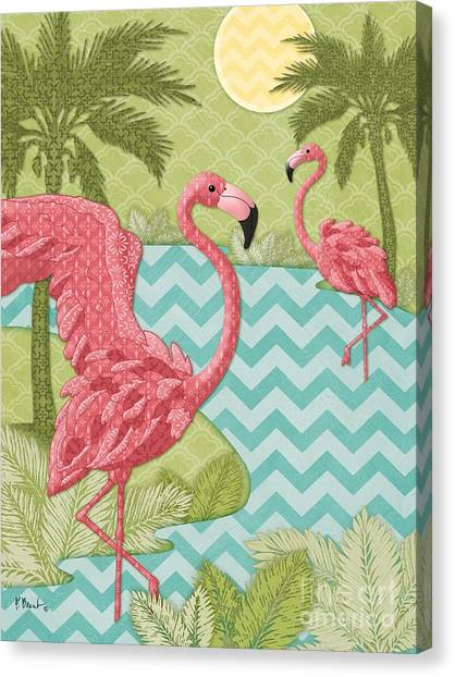 Flamingos Canvas Print - Island Flamingo - Vertical by Paul Brent