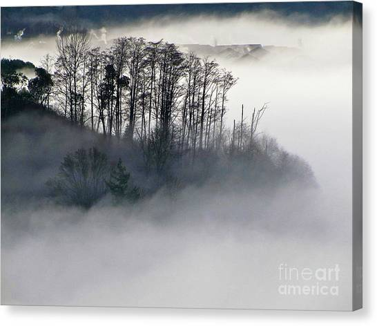 Island In The Morning Mist Canvas Print