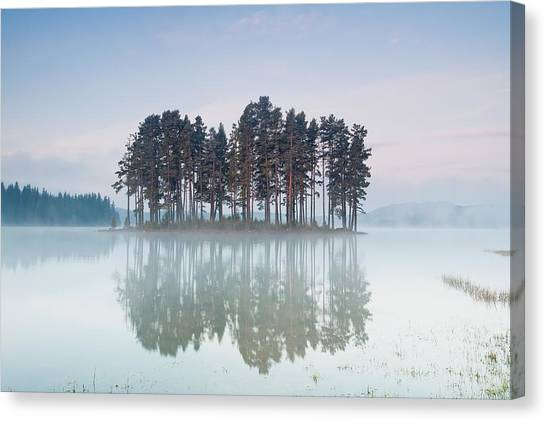 Lake Sunrises Canvas Print - Island Of The Day Before by Evgeni Dinev
