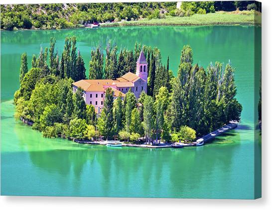 Island Of Visovac Monastery In Krka  Canvas Print