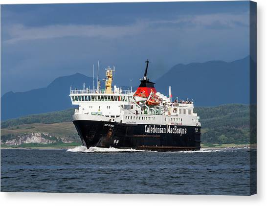 Isle Of Mull Ferry Crosses The Firth Of Lorne Canvas Print