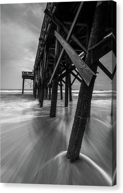 Isle Of Palms Pier Water In Motion Canvas Print