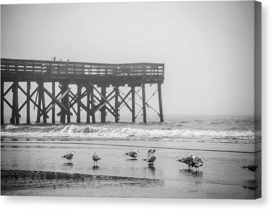 Isle Of Palms Pier And Fog Canvas Print