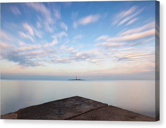Canvas Print featuring the photograph Islet Baraban With Lighthouse by Davor Zerjav