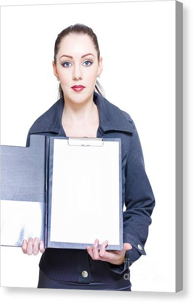 Folders Canvas Print - Isolated Business Woman Opening Clipboard Survey by Jorgo Photography - Wall Art Gallery