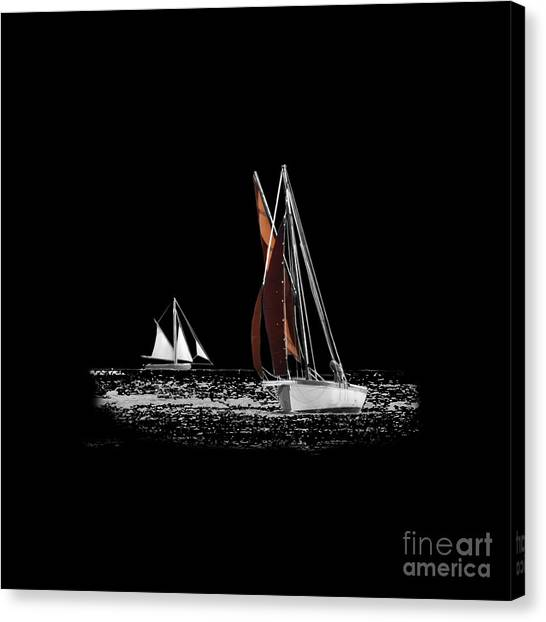 Isolated Yacht Carrick Roads On A Transparent Background Canvas Print