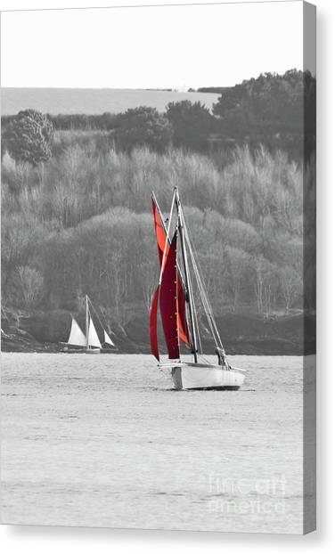 Isolated Yacht Carrick Roads Canvas Print