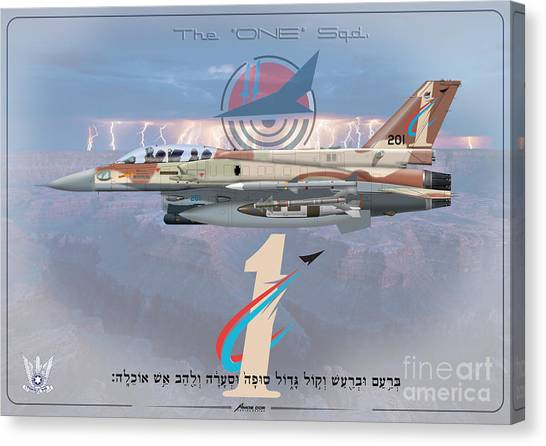 Israeli Air Force F-16i Sufa The One Squadron  Canvas Print
