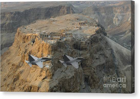 Israeli Air Force Lavi Over Massda  Canvas Print