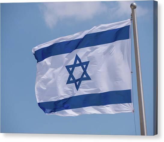 Israeli Flag In The Wind Canvas Print