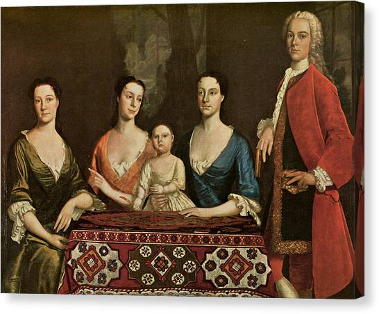 Issac Royall And His Family Canvas Print by Robert Feke