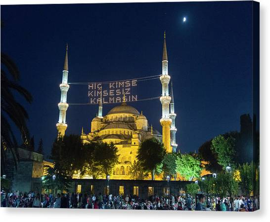 Byzantine Canvas Print - Istanbul Blue Mosque At Ramadan by Stephen Stookey