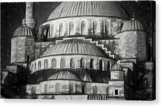 Byzantine Canvas Print - Istanbul Blue Mosque - Charcoal  Sketch by Stephen Stookey