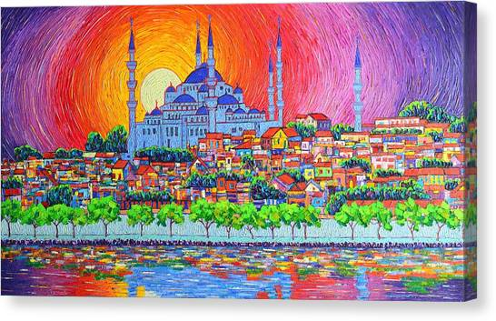 Istanbul Blue Mosque Sunset Modern Impressionist Palette Knife Oil Painting By Ana Maria Edulescu    Canvas Print