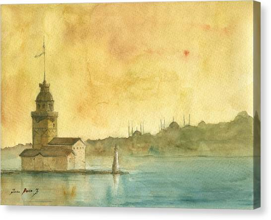 Turkey Canvas Print - Istanbul Maiden Tower by Juan Bosco