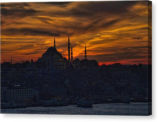 Allah Canvas Print - Istanbul Sunset - A Call To Prayer by David Smith