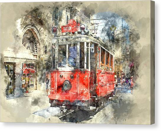 Istanbul Turkey Red Trolley Digital Watercolor On Photograph Canvas Print