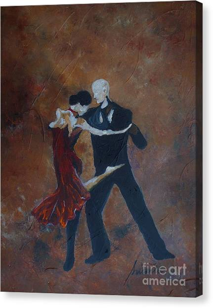 Tap Dance Canvas Print - It Takes Two To Tango by Pristine Cartera Turkus