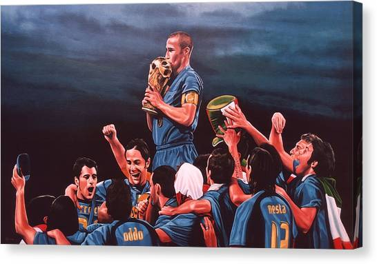 Goal Canvas Print - Italia The Blues by Paul Meijering