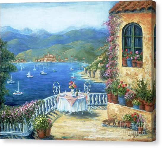 Table Mountain Canvas Print - Italian Lunch On The Terrace by Marilyn Dunlap
