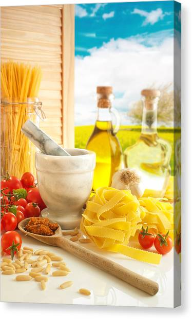 Spaghetti Canvas Print - Italian Pasta In Country Kitchen by Amanda Elwell