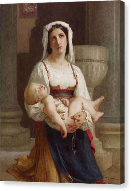 Academic Art Canvas Print - Italian Peasant Kneeling With Child by Adolphe William Bouguereau