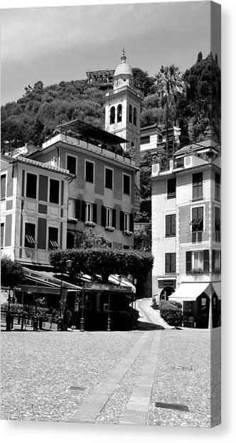 Portofino Cafe Canvas Print - Italian Riviera by Corinne Rhode