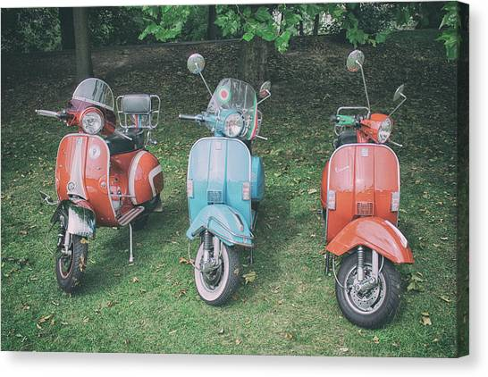 Pencil Drawing Motorcycle Canvas Print - Italian Scooters by Martin Newman