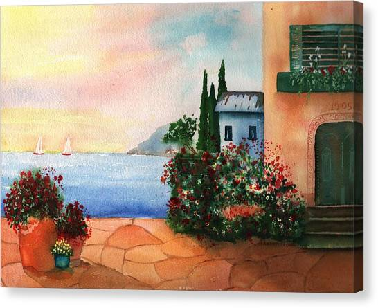 Great Cypress Canvas Print - Italian Sunset Villa By The Sea by Sharon Mick