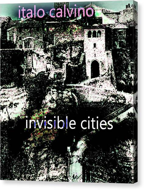 Imaginary Worlds Canvas Print - Italo Calvino Poster  by Paul Sutcliffe