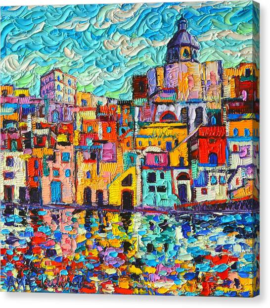 Italy Procida Island Marina Corricella Naples Bay Palette Knife Oil Painting By Ana Maria Edulescu Canvas Print