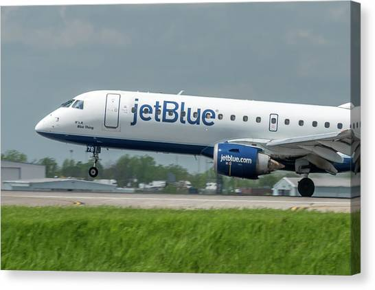 Jetblue Canvas Print - It's A Blue Thing by Guy Whiteley