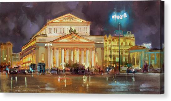 Moscow Canvas Print - It's A Long Evening. Theatre Square. by Alexey Shalaev