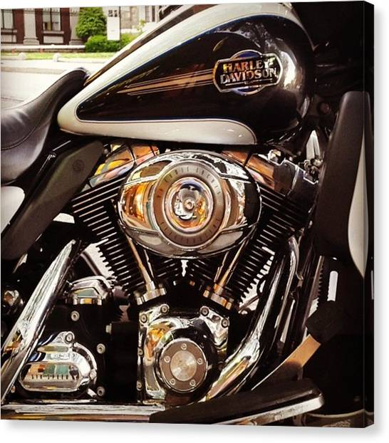 Harley Davidson Canvas Print - It's An All Black, White And #chrome by Matt Sweetwood