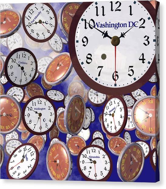 It's Raining Clocks - Washington D. C. Canvas Print