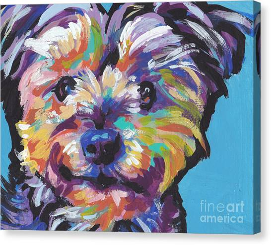 Yorkshire Terrier Canvas Print - Itsy Bitsy Best Friend by Lea S
